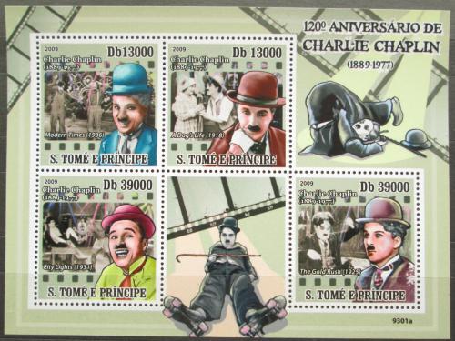Poštovní známky Svatý Tomáš 2009 Charlie Chaplin Mi# 4053-56 Kat 10€