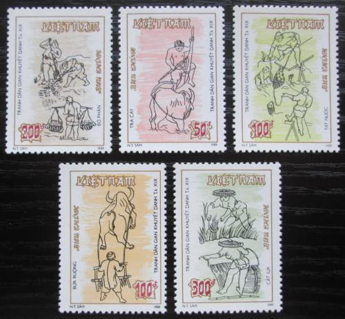 Poštovní známky Vietnam 1989 Staré kresby Mi# 2105-09