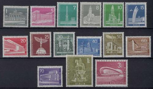 Poštovní známky Západní Berlín 1956 Berlínská architektura Mi# 140-54 Kat 50€