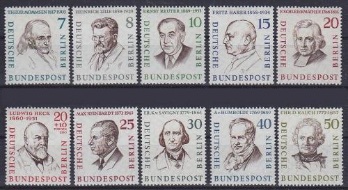 Poštovní známky Západní Berlín 1957-59 Osobnosti Mi# 163-72 Kat 14€