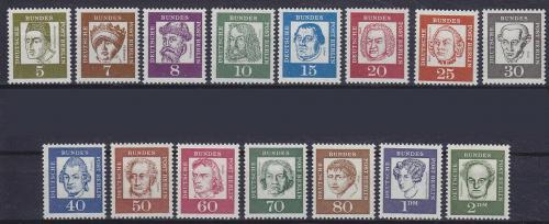 Poštovní známky Západní Berlín 1961-62 Osobnosti Mi# 199-213 Kat 18€