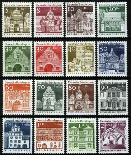 Poštovní známky Západní Berlín 1966-69 Architektura Mi# 270-85 Kat 16€