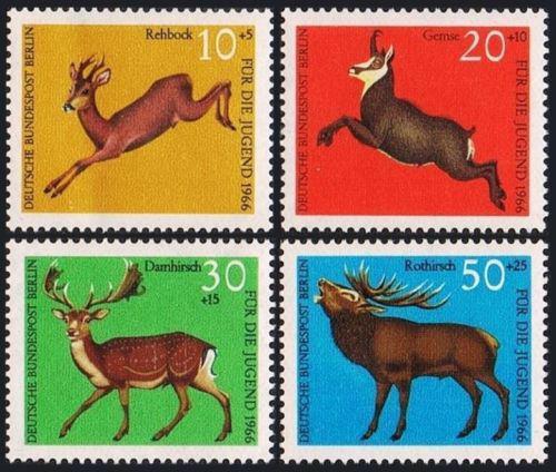 Poštovní známky Západní Berlín 1966 Lesní zvìø Mi# 291-94