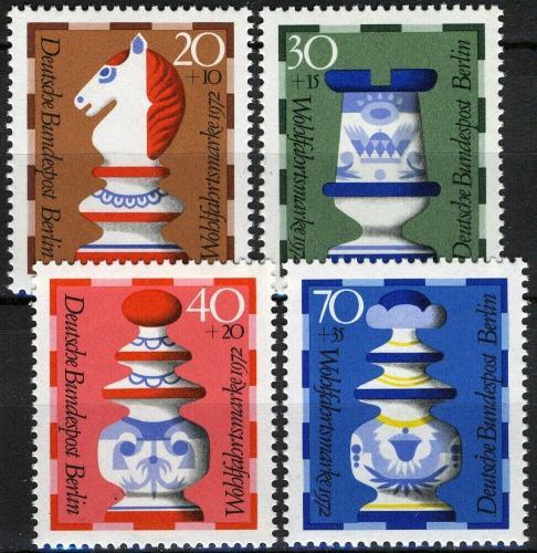 Poštovní známky Západní Berlín 1972 Šachové figurky Mi# 435-38 Kat 6.50€