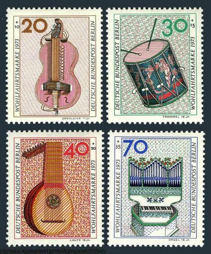 Poštovní známky Západní Berlín 1973 Hudební nástroje Mi# 459-62