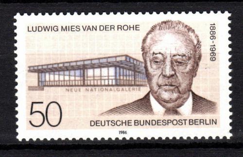 Poštovní známka Západní Berlín 1986 Ludwig Mies van der Rohe, architekt Mi# 753