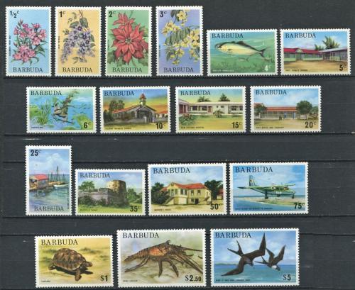 Poštovní známky Barbuda 1974-75 Rùzné motivy TOP SET Mi# 185-201 Kat 34€