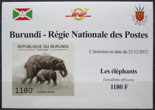 Poštovní známka Burundi 2012 Slon africký neperf. DELUXE Mi# 2833 B Block