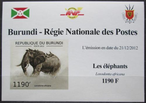 Poštovní známka Burundi 2012 Slon africký neperf. DELUXE Mi# 2834 B Block