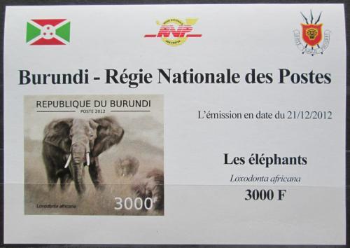 Poštovní známka Burundi 2012 Slon africký neperf. DELUXE Mi# 2835 B Block
