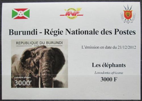 Poštovní známka Burundi 2012 Slon africký neperf. DELUXE Mi# 2836 B Block