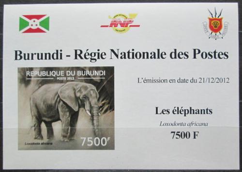 Poštovní známka Burundi 2012 Slon africký neperf. DELUXE Mi# 2837 B Block