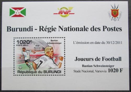 Poštovní známka Burundi 2011 Bastian Schweinsteiger, fotbal Mi# 2139 Block