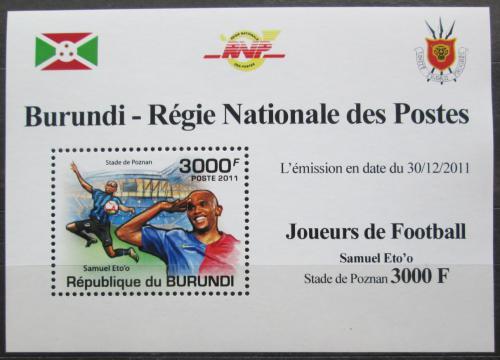 Poštovní známka Burundi 2011 Samuel Eto'o, fotbal Mi# 2140 Block