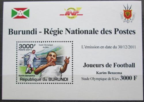 Poštovní známka Burundi 2011 Karim Benzema, fotbal Mi# 2141 Block