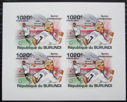 Poštovní známky Burundi 2011 Bastian Schweinsteiger neperf. Mi# 2139 B Bogen