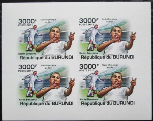 Poštovní známky Burundi 2011 Karim Benzema neperf. Mi# 2141 B Bogen