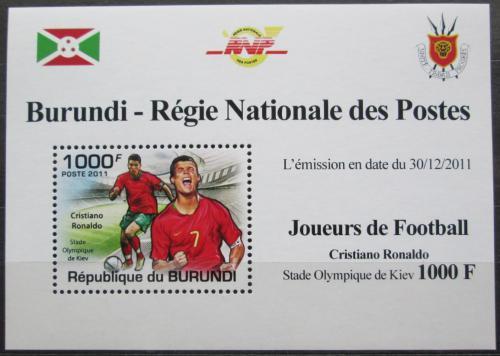 Poštovní známka Burundi 2011 Cristiano Ronaldo, fotbal DELUXE Mi# 2142 Block