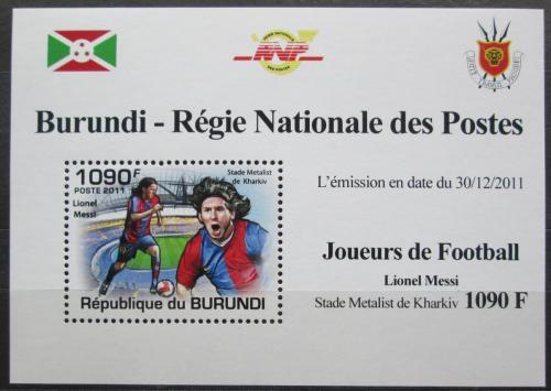 Poštovní známka Burundi 2011 Lionel Messi, fotbal DELUXE Mi# 2143 Block