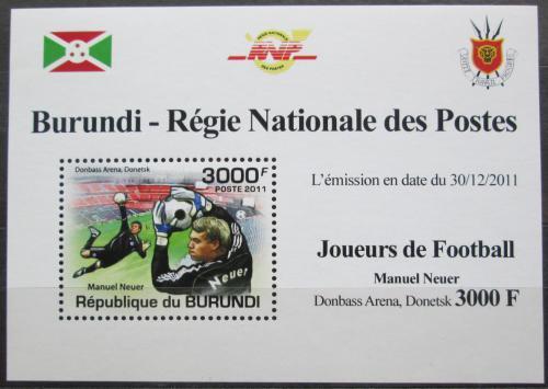 Poštovní známka Burundi 2011 Manuel Neuer, fotbal DELUXE Mi# 2145 Block