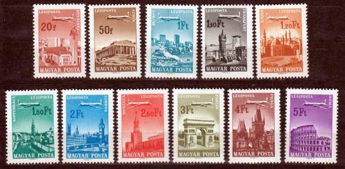 Poštovní známky Maïarsko 1966 Letadla nad mìsty Mi# 2280-90