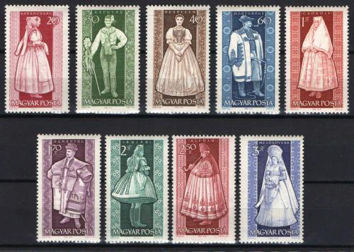 Poštovní známky Maïarsko 1963 Lidové kroje Mi# 1954-62 Kat 7.50€