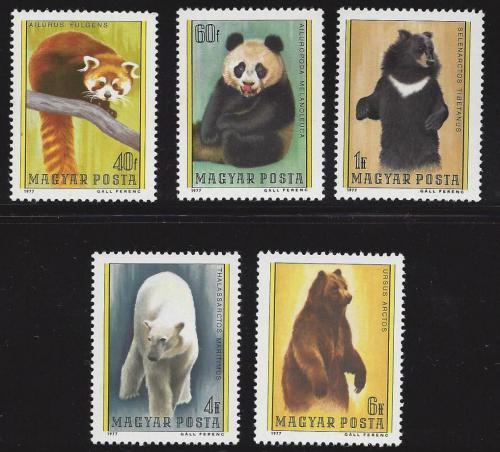 Poštovní známky Maïarsko 1977 Medvìdi Mi# 3243-47