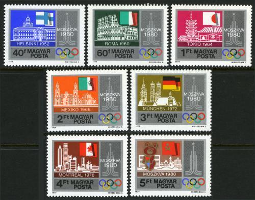 Poštovní známky Maïarsko 1979 Olympijská mìsta Mi# 3355-61
