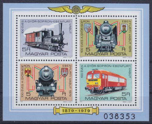 Poštovní známky Maïarsko 1979 Lokomotivy Mi# Block 139