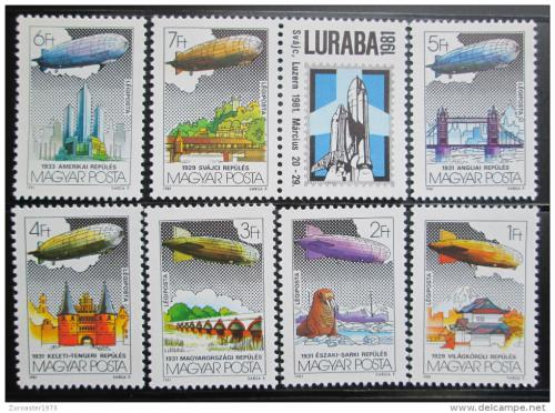 Poštovní známky Maïarsko 1981 Vzducholodì Mi# 3477-83