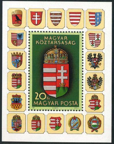 Poštovní známka Maïarsko 1990 Státní znak Mi# Block 211 Kat 6€
