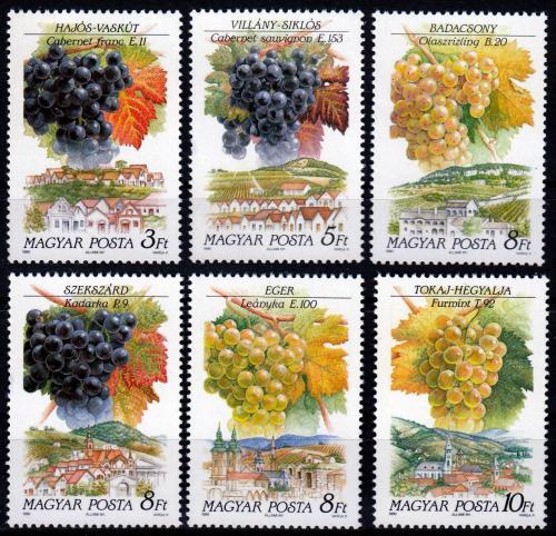 Poštovní známky Maïarsko 1990 Hroznové víno Mi# 4101-06