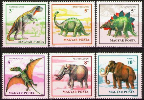 Poštovní známky Maïarsko 1990 Prehistorická fauna Mi# 4110-15