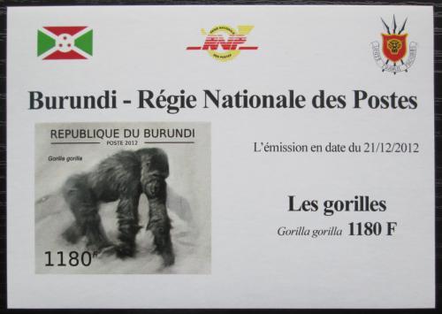 Poštovní známka Burundi 2012 Gorila západní neperf. DELUXE Mi# 2848 B Block