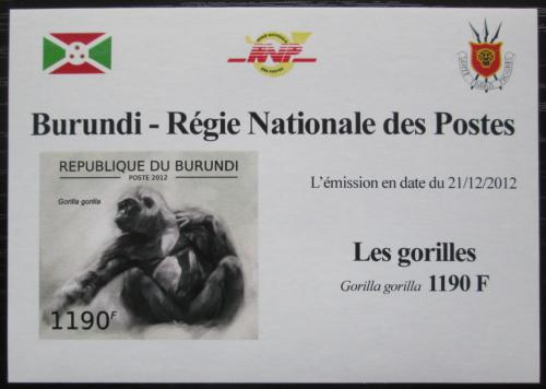 Poštovní známka Burundi 2012 Gorila západní neperf. DELUXE Mi# 2849 B Block