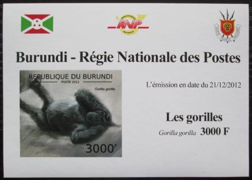 Poštovní známka Burundi 2012 Gorila západní neperf. DELUXE Mi# 2850 B Block