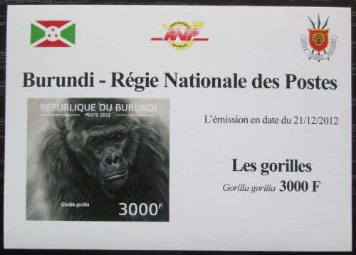 Poštovní známka Burundi 2012 Gorila západní neperf. DELUXE Mi# 2851 B Block