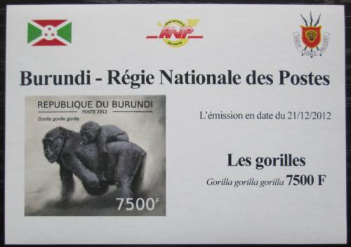 Poštovní známka Burundi 2012 Gorila západní neperf. DELUXE Mi# 2852 B Block