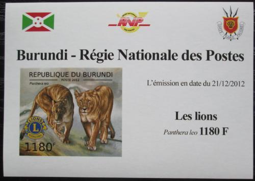 Poštovní známka Burundi 2012 Lvi neperf. DELUXE Mi# 2828 B Block