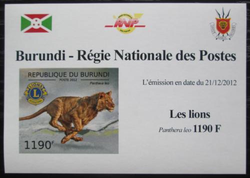 Poštovní známka Burundi 2012 Lev neperf. DELUXE Mi# 2829 B Block