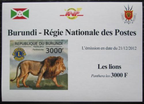Poštovní známka Burundi 2012 Lev neperf. DELUXE Mi# 2830 B Block
