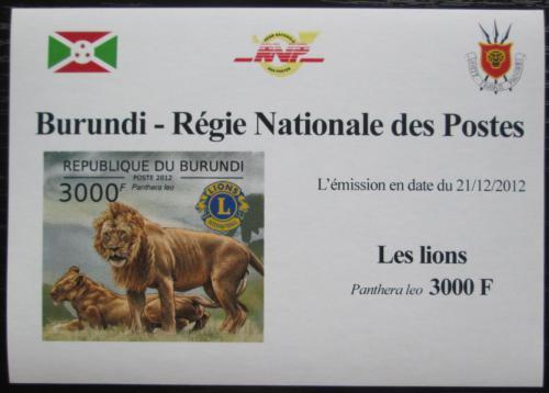 Poštovní známka Burundi 2012 Lev neperf. DELUXE Mi# 2831 B Block