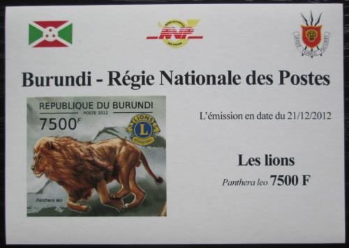 Poštovní známka Burundi 2012 Lev neperf. DELUXE Mi# 2832 B Block