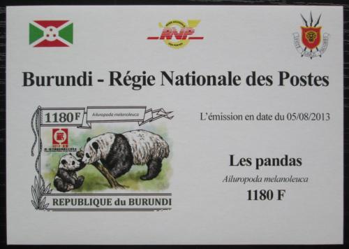 Poštovní známka Burundi 2013 Pandy neperf. DELUXE Mi# N/N