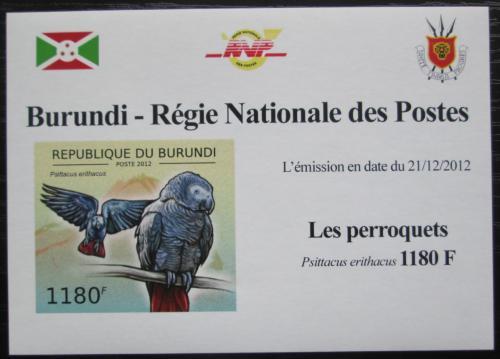Poštovní známka Burundi 2013 Papoušek šedý neperf. DELUXE Mi# 2813 B Block