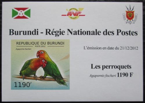 Poštovní známka Burundi 2013 Papoušík Fischerùv neperf. DELUXE Mi# 2814 B Block