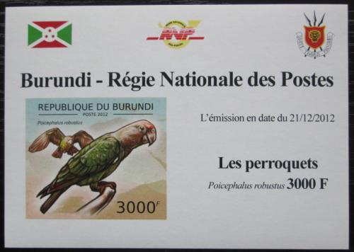 Poštovní známka Burundi 2013 Papoušek kapský neperf. DELUXE Mi# 2815 B Block