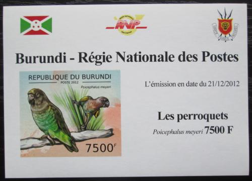 Poštovní známka Burundi 2013 Papoušek žlutotemenný neperf DELUXE Mi# 2817 B Block