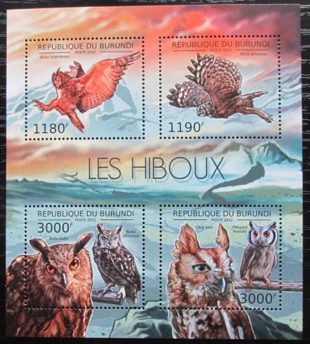 Poštovní známky Burundi 2012 Sovy Mi# 2808-11 Bogen Kat 10€