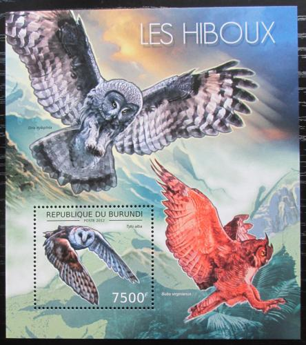 Poštovní známka Burundi 2012 Sovy Mi# Block 286 Kat 9€